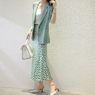 Digital Printed Green Dot Knee Length Silk Skirt