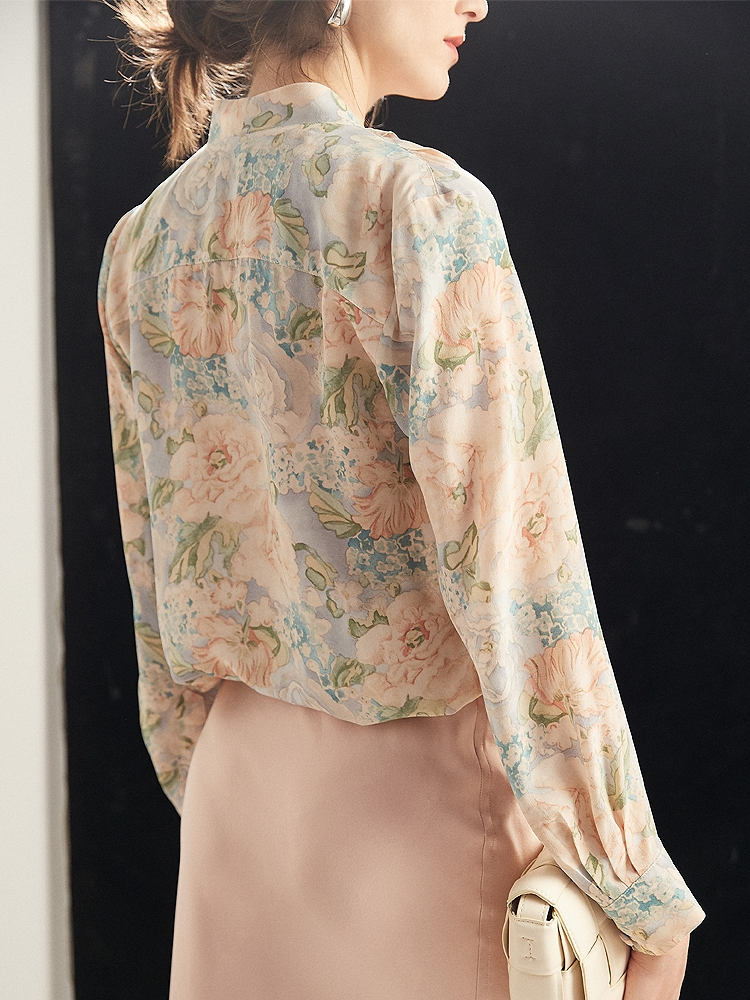 Ruffled Womens Silk Shirts And Blouses in Beautiful Printed