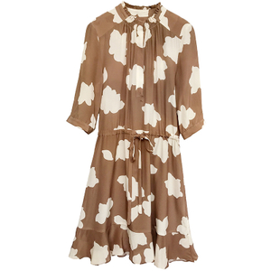 Mulberry Silk Midi Dress with Sleeves
