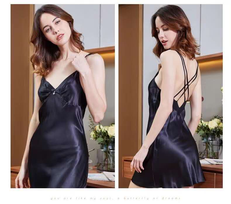 Pure Silk Satin Black Nightdress for Ladies