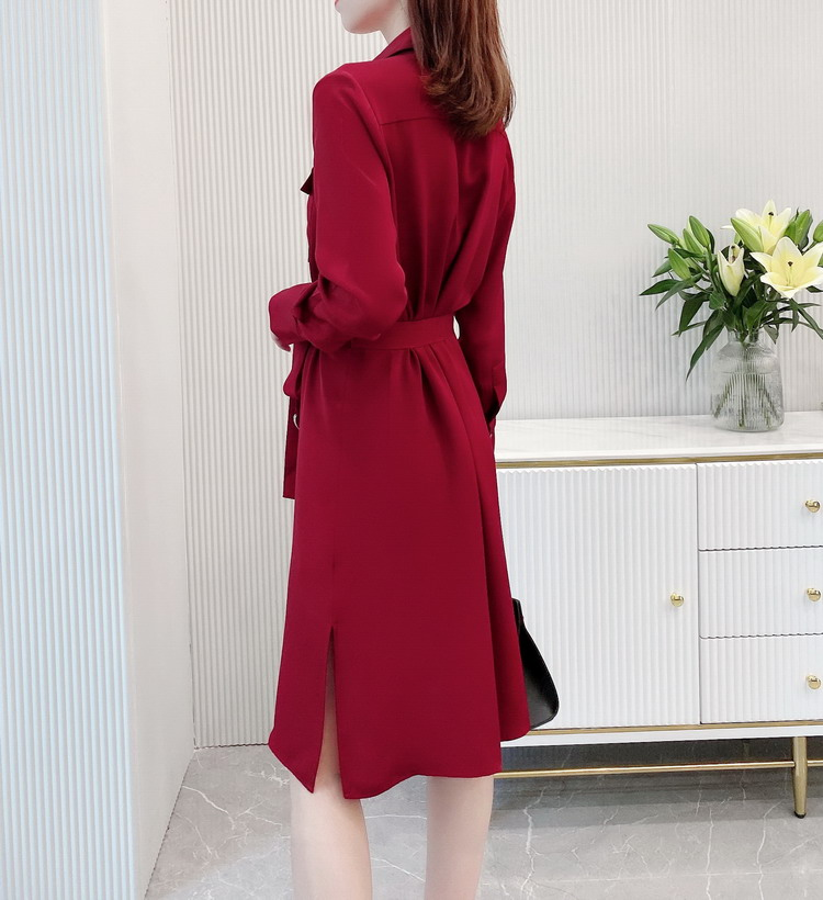 Heavy Silk Shirt Dress with Split in Red for Woman