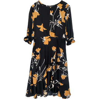 Washable Mulberry Flower Silk Midi Dress