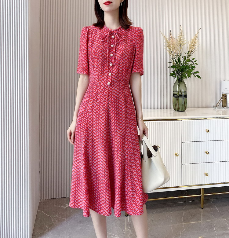 Fancy Printed Button Up Silk Gown in Red