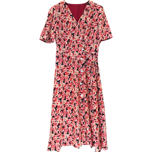 Pink Print V Neck Silk Wrap Dress