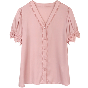 Short Sleeve Heavy Silk Shirt with Lace Trimmed