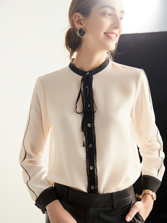 Luxury Pure Silk Collared Blouse for Ladies White